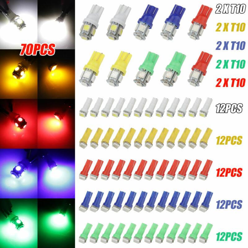 70Pcs Car T5+T10 5050-SMD LED Instrument Panel Cluster Dash Light Bulb Indicator