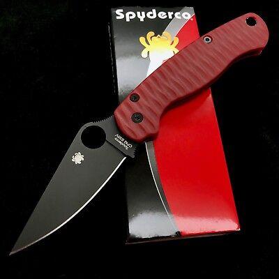 Spyderco Paramilitary 2 C81GPBK2 w/ Custom Red G10 Anso style Scales C81GP2