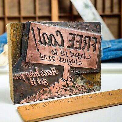 Free Coal Heres How Copper Lg 3x4 Vintage Letterpress Printers Block
