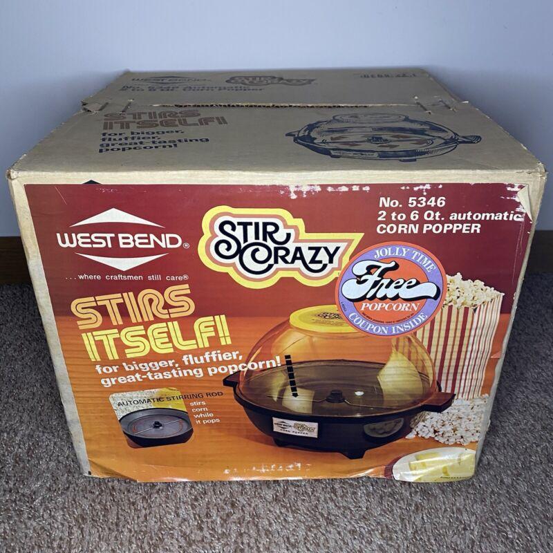 Vintage West Bend Stir Crazy Popcorn Corn Popper New In Box No.5346 Sealed! Rare