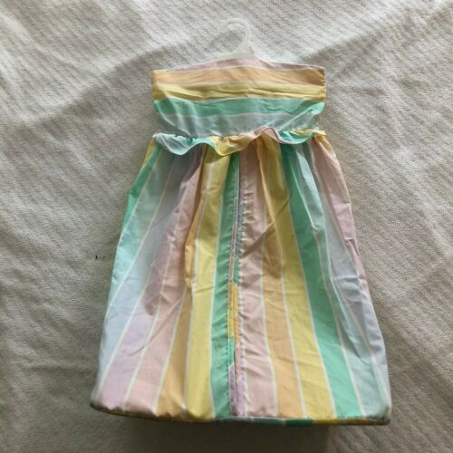vintage quiltex hanging fabric diaper stacker holder pastel rainbow stripes EUC