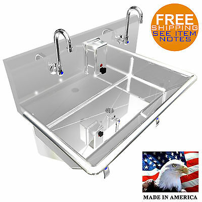 Hand Sink 36 2 Users Multistation Hands Free Basin Lavabo Stainless Steel