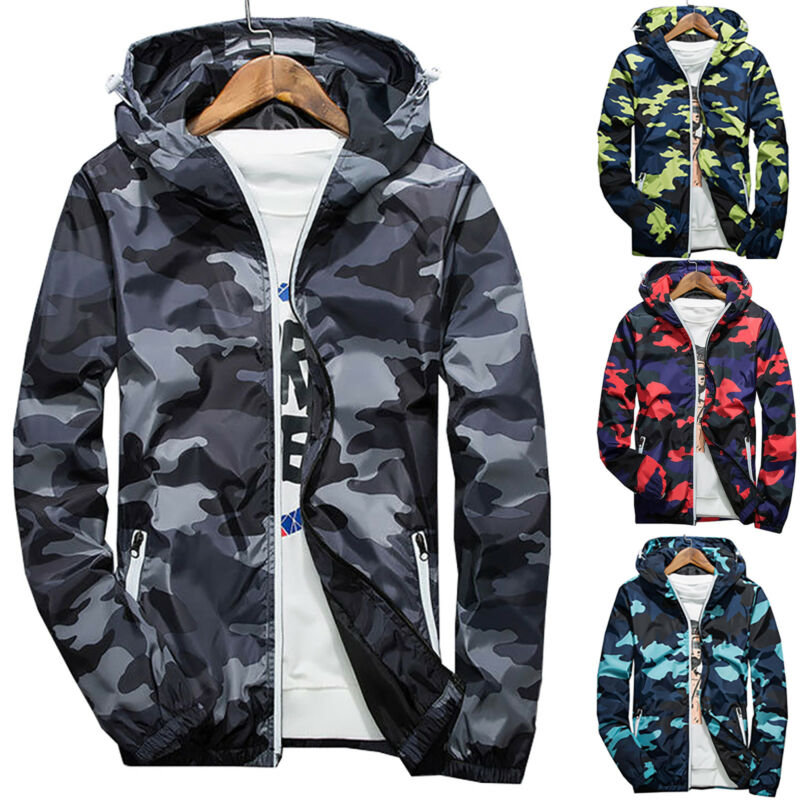 Men Waterproof Windbreaker Camo Hoodie Zip Jacket Hooded Swe