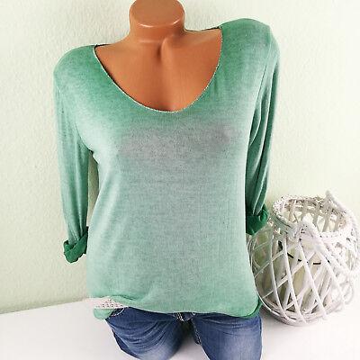 ♥ Italy Pullover Damen Feinstrick Pulli Basic Viskose GRÜN 36 38 40 S M F51 Grüne Damen Pullover