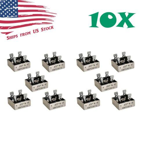 10Pcs 1000V 50A Metal Case Single Phase Diode Bridge Rectifier KBPC5010 10X