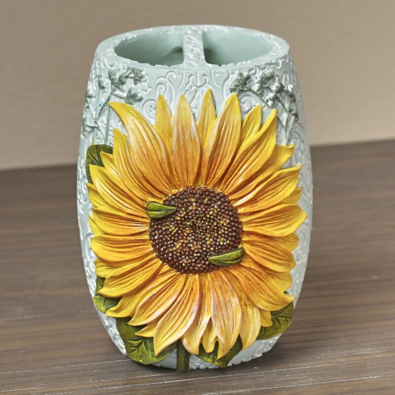 Sunflower Toothbrush Holder with Unique, Floral Farmhouse Design