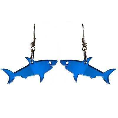 Mirrored Great Blue Shark Pendant Earrings Shark Week Costume Jaws Sharknado (Sharknado Costume)
