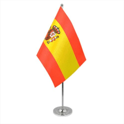 Spain State Satin & Chrome Premium Table Flag