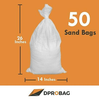 50 Empty Sandbags 14x26 Inches 1600 Uvi - 50 Poly Sand Bags Empty White With Tie