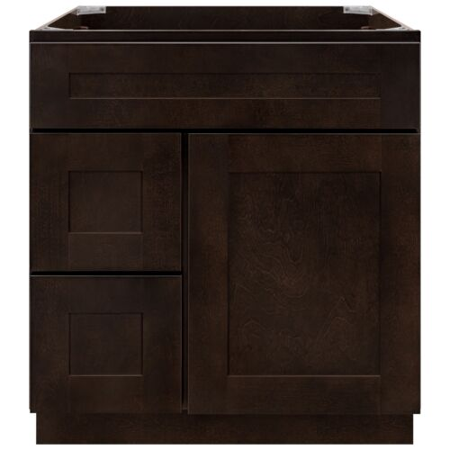 """30"""" Vanity Sink Base Cabinet with Left Drawers Espresso Shaker by LessCare"""