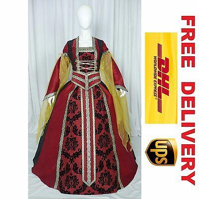 MEDIEVAL RENAISSANCE TUDOR WEDDING HANDFASTING LARP GOWN DRESS COSTUME (19O)