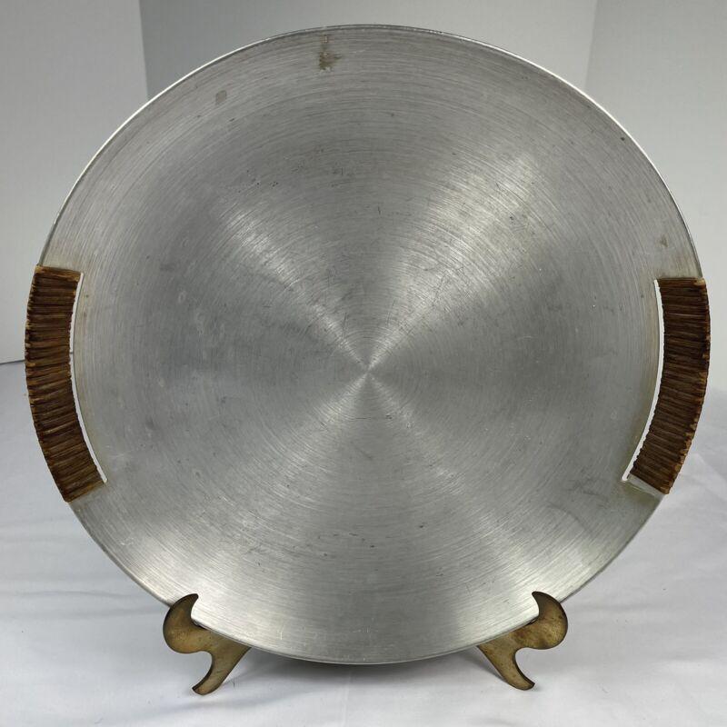 "Vintage MCM Russel Wright Spun Aluminum Round Serving Tray 14 3/4"" Large Vtg"