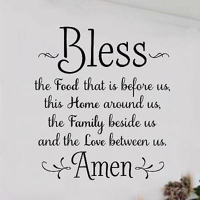 "BLESS THE FOOD BEFORE US AMEN Kitchen Dining Home Wall Decal Vinyl Words 8 x 10"" for sale  Shipping to South Africa"