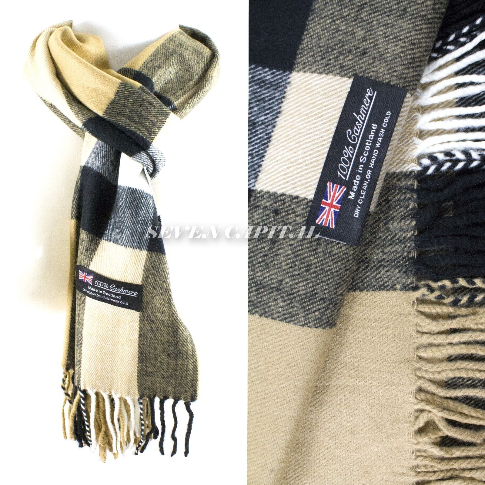 Mens Womens Winter Warm SCOTLAND Made 100% CASHMERE Scarf Scarves Plaid Wool 22. Plaid: Beige White