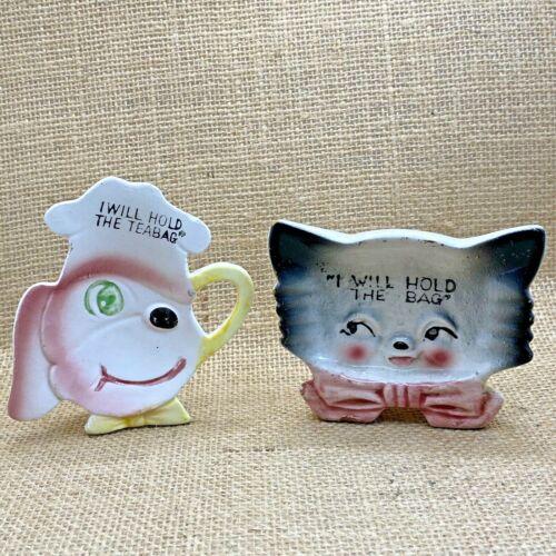 Vtg. Pair of Cat & Dog Teabag Holders Made in Japan