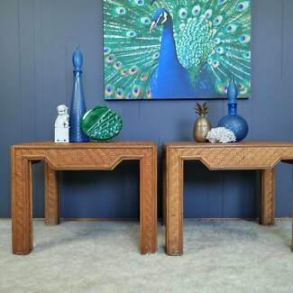 1970s Chinoiserie Bamboo Tables :: Pair