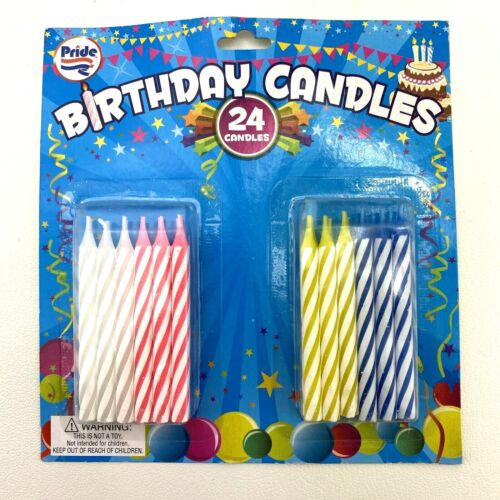 Pastel Striped Birthday Candles 24 Pack Party Supplies White Blue Yellow Pink