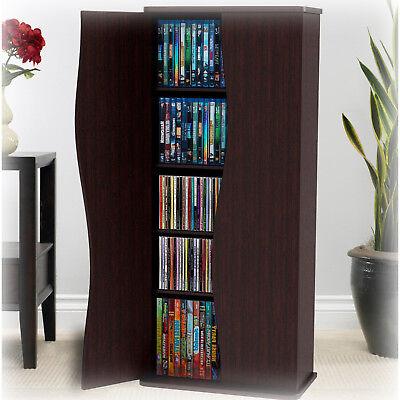 Media Cabinet Storage DVD Movie Game Tower Organizer Stand Espresso 5 Shelves  Atlantic Glass Storage Cabinet