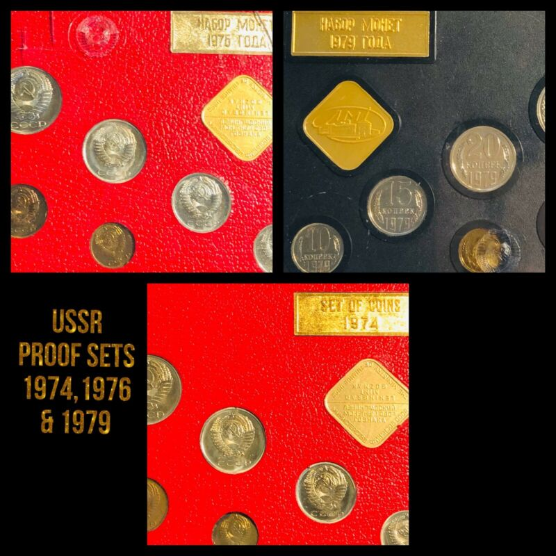 LOT Of 3 Proof Like Mint Coin Set Soviet Union Russia USSR 1974, 1975,& 1979