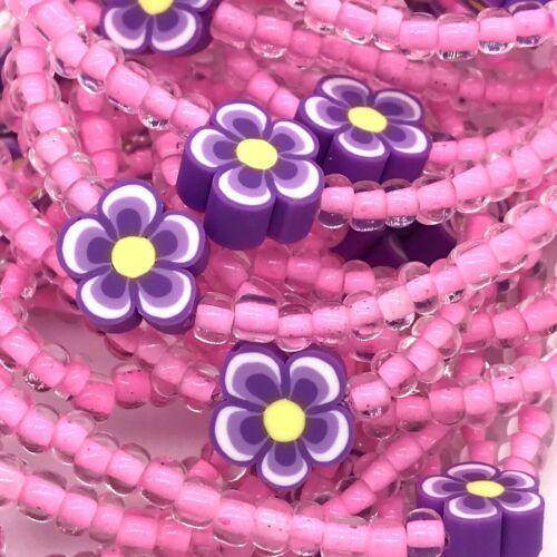 Purple Flower Beaded Stretch Bracelets Set Lot of 24 Kid Size Handmade USA