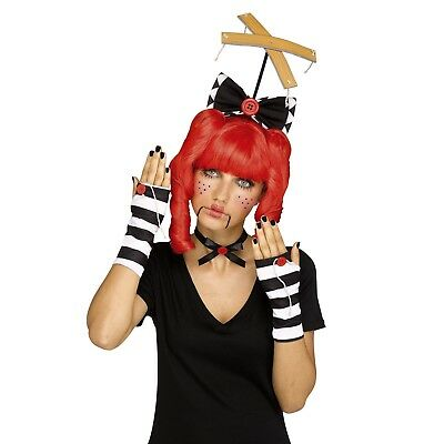 Womens Black Marionette Doll Costume Kit Broken Puppet Bow Gloves Halloween