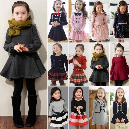 Toddler Girls Tutu Dress Princess Party Long Sleeve Skater K