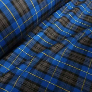 Royal-Blue-Grey-Black-Poly-Viscose-Tartan-Yellow-Grid-Fabric-Per-Metre