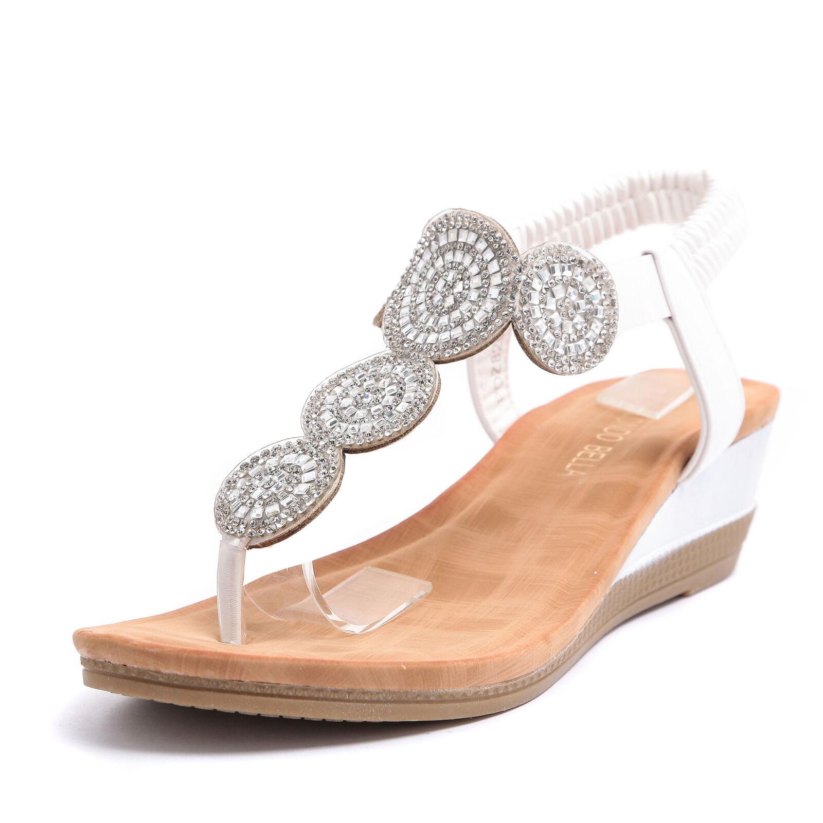 Sandali donna scarpe infradito strass e pelle flatform zeppa cinturino POZ8204-1