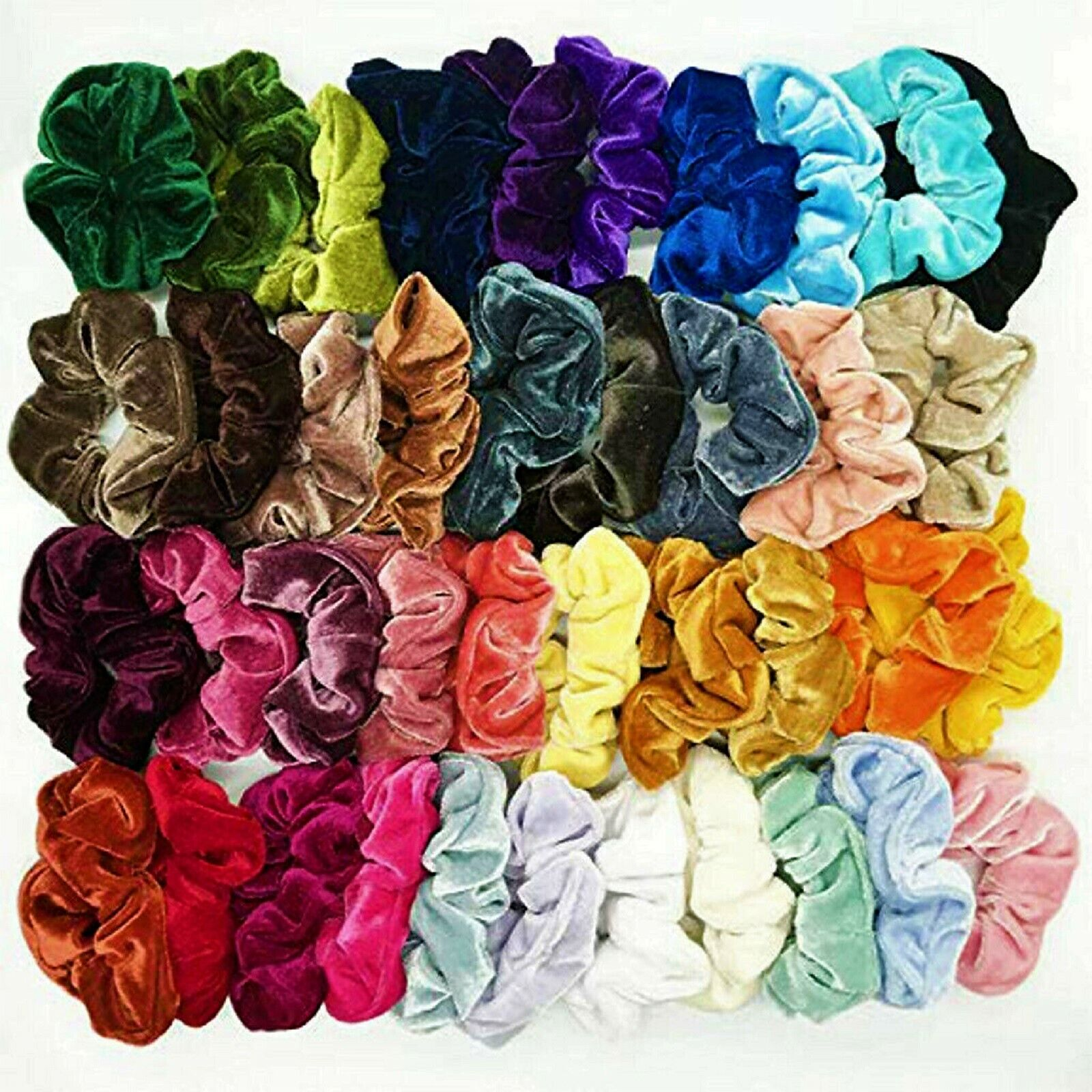 50 Pcs Colorful Velvet Hair Band Scrunchies Set, Elastic Bob