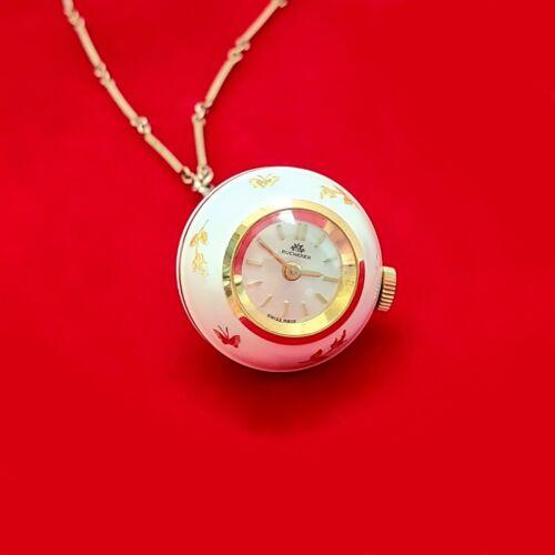 Vintage Bucherer White Enamel Ball Necklace Globe Pendant Watch & Chain ~Running