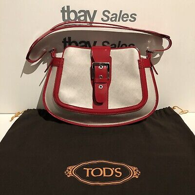 NEW TOD's Medium Size Red Leather Trim Shoulder Tote Satchel Purse Bag w/ Strap