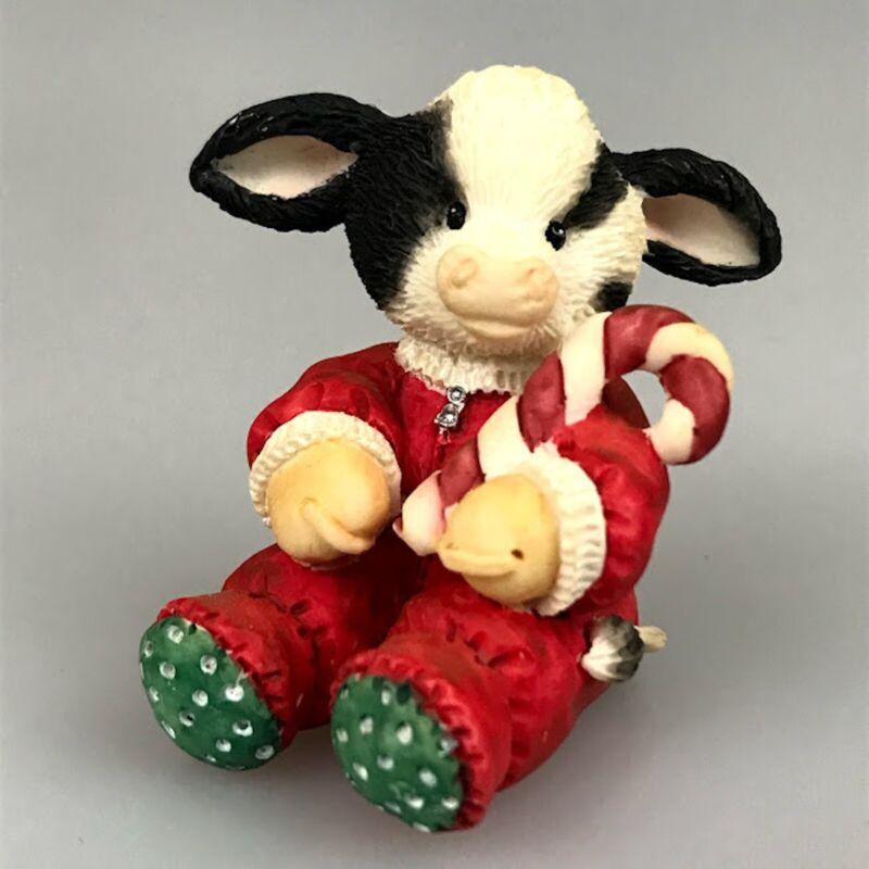 Cow Figurine Marys Moo Moos Christmas Holiday Candy Cane Boy Pajamas Retired
