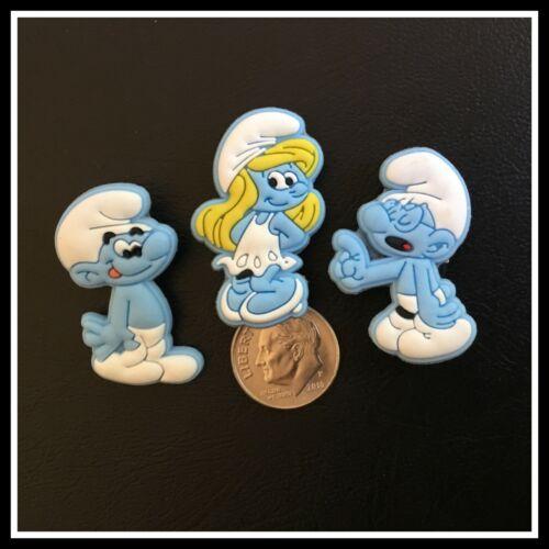 SET of 3 Shoe Charms for Crocs SMURFS Cartoon Comic TV Show Smurfette Brainy