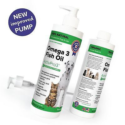 PURE OMEGA 3 for Cats and Dogs - LIQUID FISH OIL with VITAMIN-E - 16 oz with New