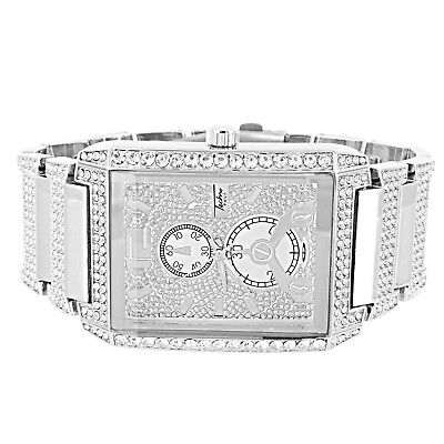 Rectangle Shape Watch Techno Pave Simulated Diamonds Luxury Style Analog (Rectangle Diamond Watch)