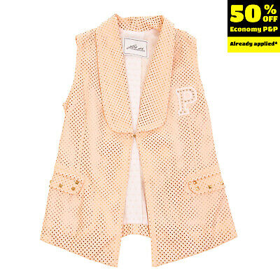 RRP €155 CESARE PACIOTTI 4US Gilet Size XS / 4Y PU Leather Laser Cut Studded
