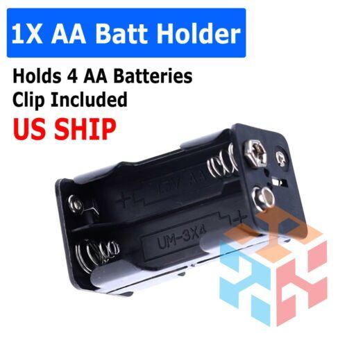 4X AA DIY Battery Holder Case Box Base 6V/5V Volt PCB Mount With Bare Wire Ends
