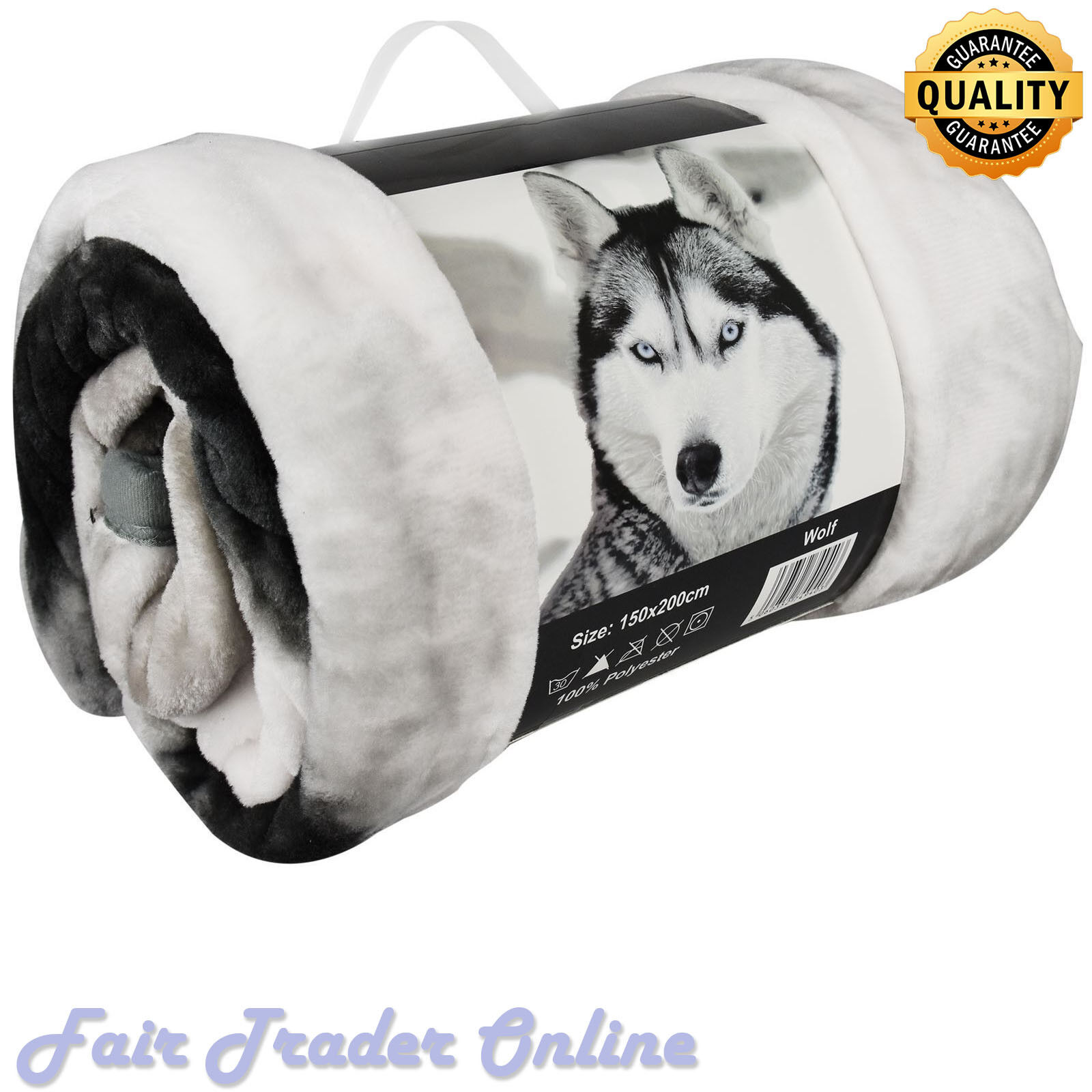 HOTEL QUALITY WHITE SMOKE FAUX FUR SOFT BED SOFA THROW BLANKET ROLLMINK THROWS