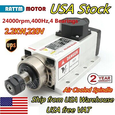 Us2.2kw Er20 Air Cooled 220v Square Spindle Motor 24000rpm Cnc Router Engraving