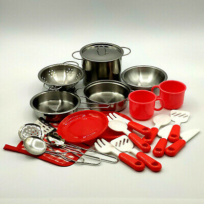 Mommy Please Play Kitchen Accessories for Pretend Food -  Stainless Steel 22pc