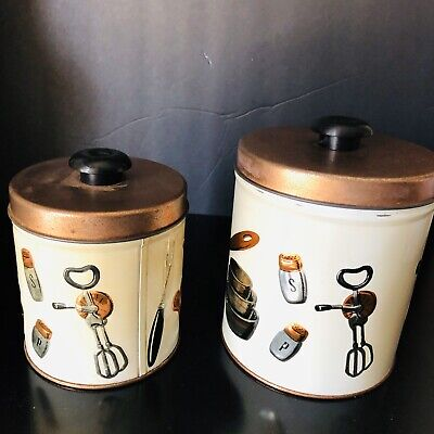 VTG 50's TWO PIECE TIN CANISTER SET KITCHEN UTENSILS DESIGN WEIBRO CHICAGO USA