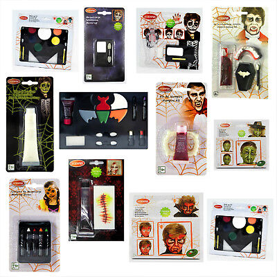 Kinderschminke Halloween Make up Sets: Vampir Vampirblut Zähne Skelett Hexe ()