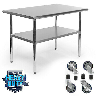 Stainless Steel Commercial Kitchen Work Food Prep Table W 4 Casters - 30 X 48