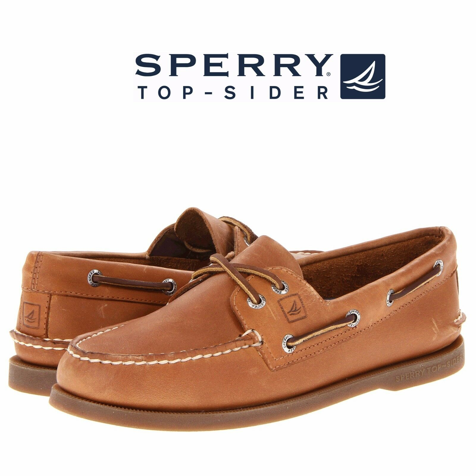 7827198024 Details about Men s Sperry Top-Sider Original A O 2-Eye Boat Shoes Sahara  Leather All Size NIB