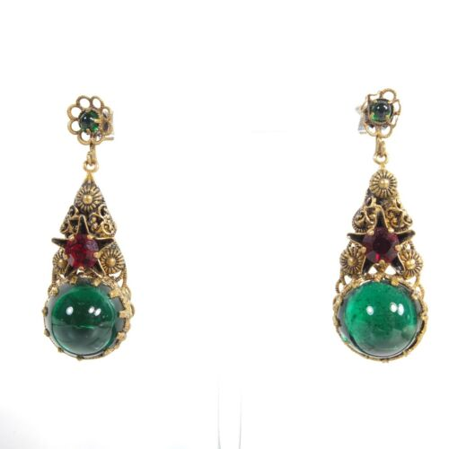 Antique Czech Glass Green & Red Paste Earrings Czech Filigree Paste Earrings