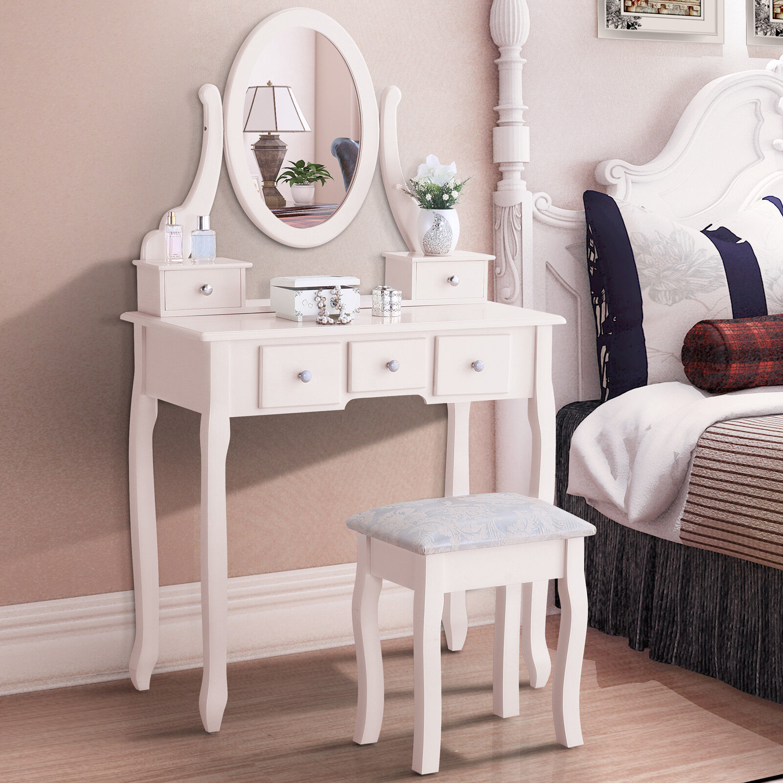 White Dressing Table Oval Mirror 5 Drawers Vanity Makeup Desk And Stool Set