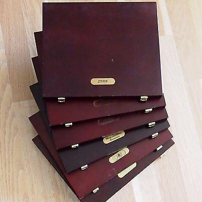 Holz - Münzkassetten, 6 Stück, mit je 1 Tableau!! Für 72 Münzen bis 55 mm