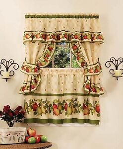 Le Orchard Complete Kitchen Curtain Set 36 Long Window Fruits