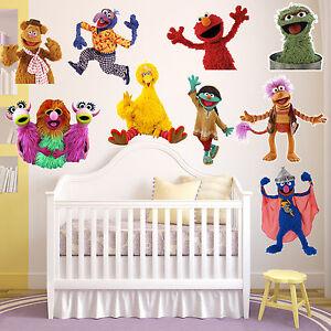 Puppets decal elmo girls boys kids bedroom vinyl wall art for Elmo wall mural