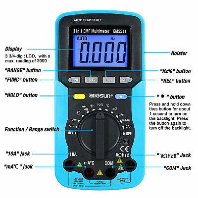 3 In 1 Autorange Digital Multimeter Ac Dc Amp Volt Ohm Environment Tester Lcd